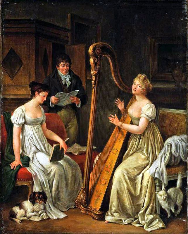 Follower of Marguerite Gérard - Elegant figures making music in an interior.