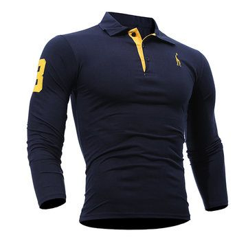 Mens Fashion Deer Embroidery Polo Shirt Turndown Collar Long Sleeve Spring Fall Casual T-shirt
