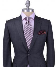 Image of Ermenegildo Zegna Solid Grey Tic Weave Suit