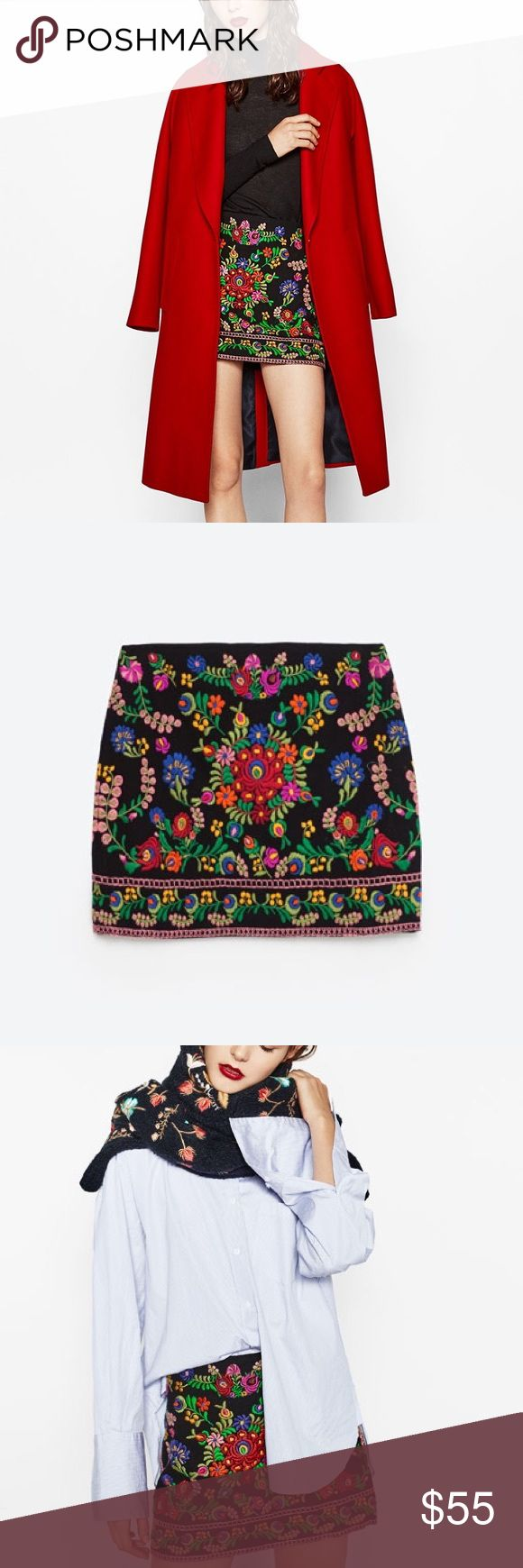 Zara embroidered floral mini skirt Side zip with hook & eye closure... gives any outfit an expensive look... love the colors in embroidery Zara Skirts Mini