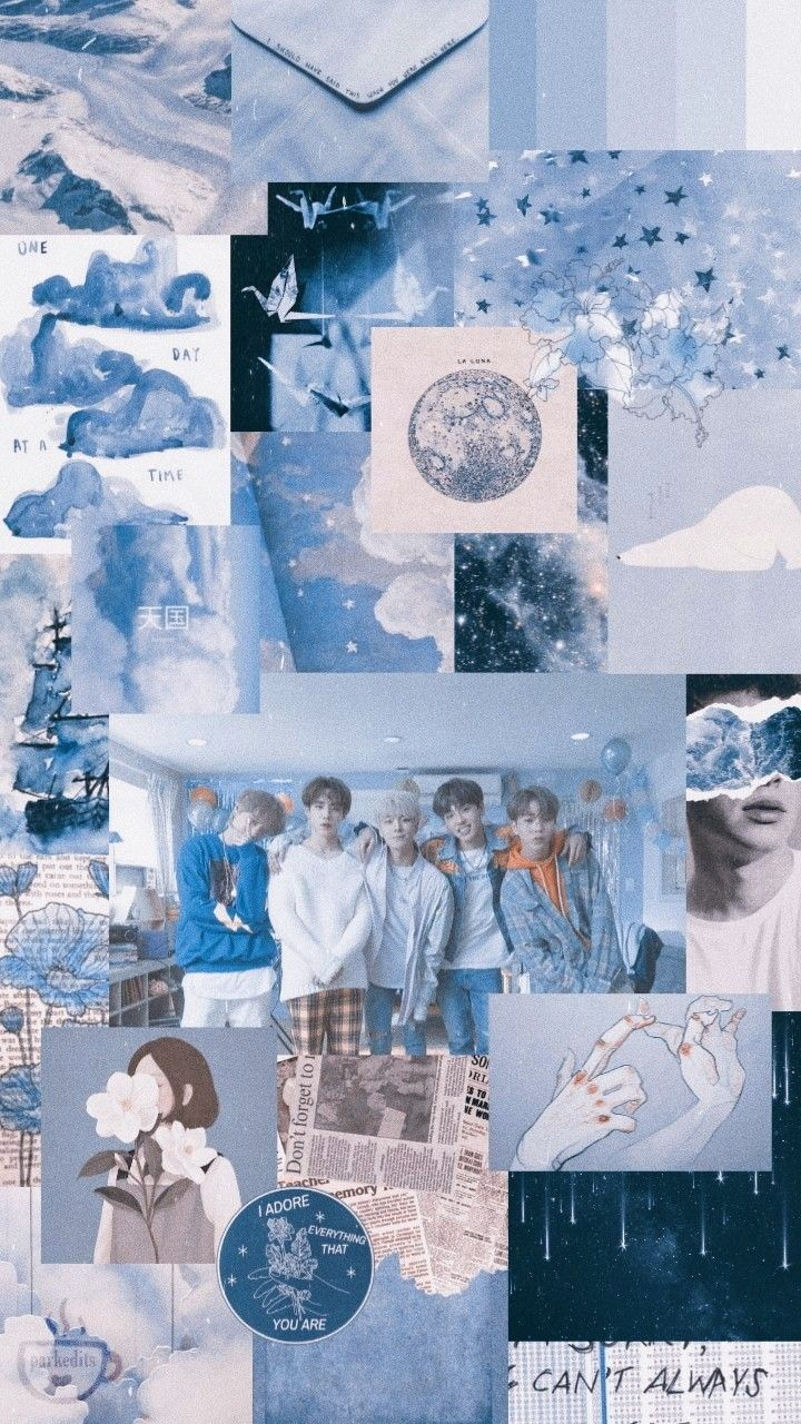 Pin By Army Bts On Ios 14 Aesthetic Baby Blue Aesthetic Bts Wallpaper Blue Flower Wallpaper