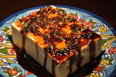 Warm Tofu with Spicy Garlic Sauce and Korean Cucumber Salad