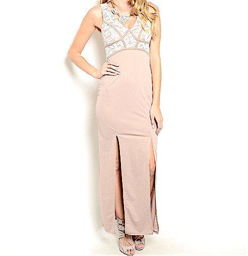 Sleeveless+Lace+Double+Slit+Dress