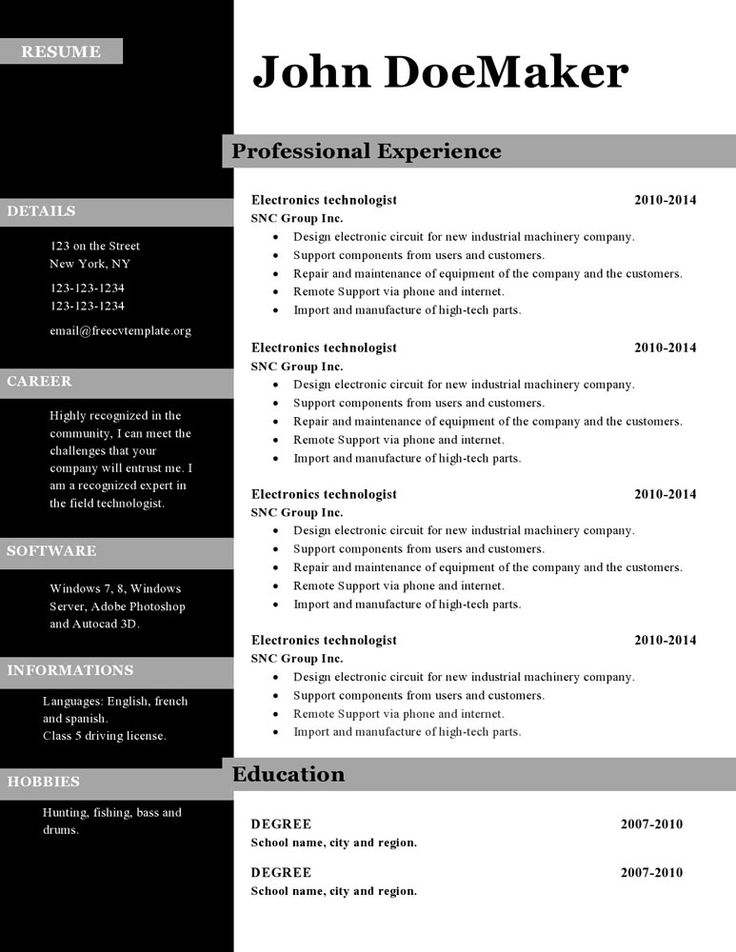40 best Resume Templates images on Pinterest Computers, Factors - parts of a resume