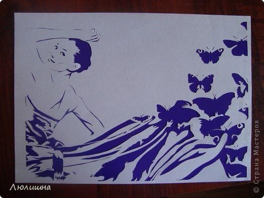 Картина панно рисунок Вырезание вырезание из бумаги Девушка-богиня  на разных фонах  Бумага фото 1: