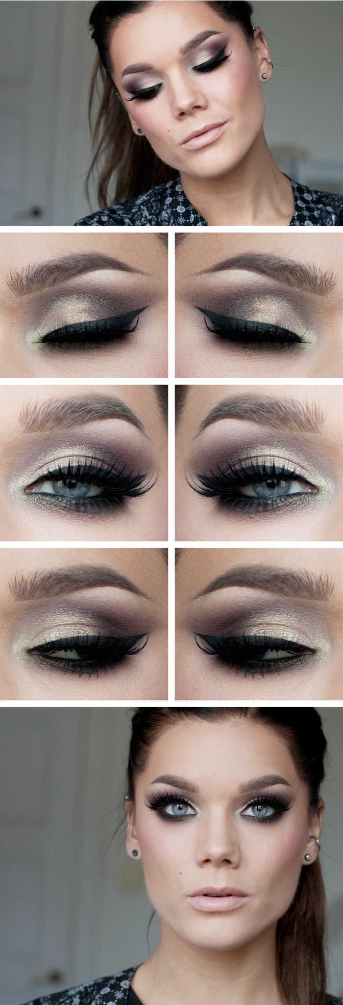 "Today's Look : ""Smokey Gold"" -Linda Hallberg (The name says it all... a smoked out gold look, very versatile... featuring the NYX Eyeshadow palette C'est la vie) 10/07/13"