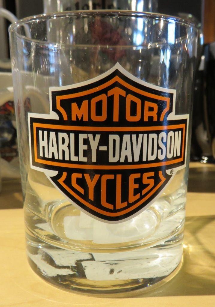 Harley-Davidson drinking glass