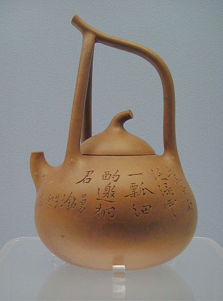 """Teapot, Yixing ware, circa 1900. The ancient Chinese Emperor Shen Nung is credited with  discovering tea as a recreational beverage. around 2737 BC. Known as the """"father of Chinese Medicine"""", he tested hundreds of herbs in the pursuit of natural remedies & was sometimes exposed to poisons in the process. He found that tea in some instances acted as a natural antidote. He also observed its mild stimulative qualities along with its refreshing nature ."""
