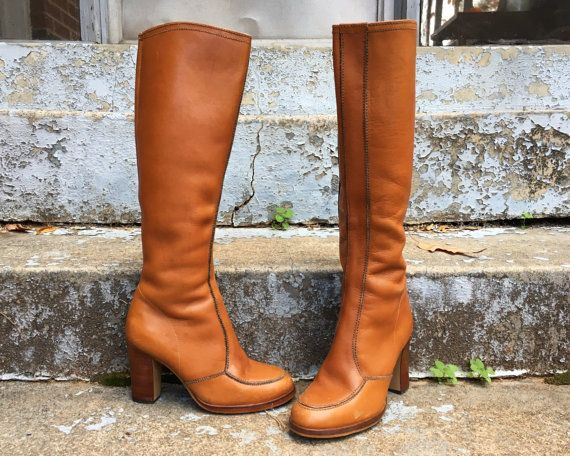 Vintage 70s Brazil Made Rich Honey Brown Tall Knee High Zip Leather Tall Stacked Heeled Boots 5