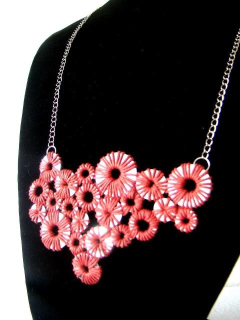 Red AROS necklace, handmade.  available by order. slobjects@gmail.com $28