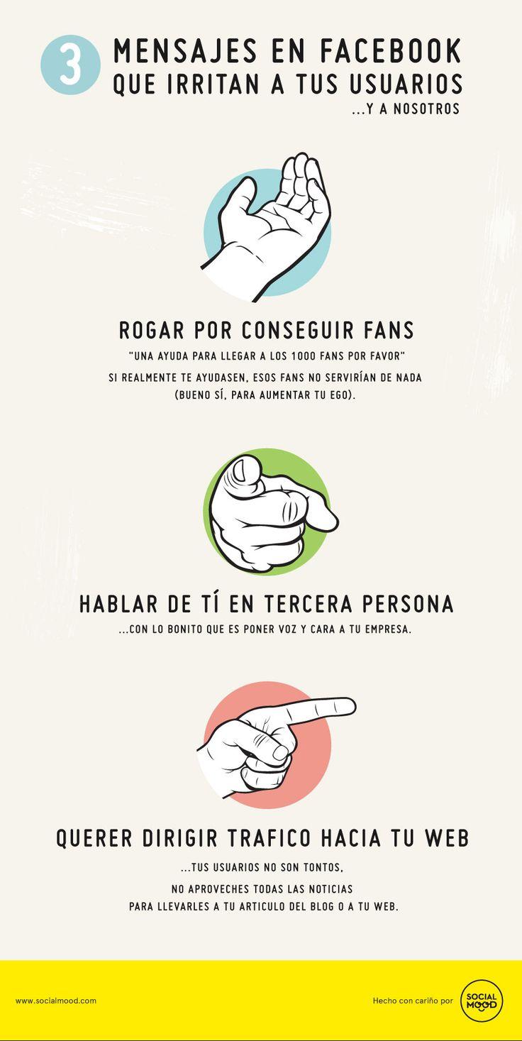 3 tipos de mensajes que irritan a tus usuarios de FaceBook #infografia