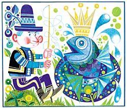 Original Artwork: János Kass: Fisher and the Goldfish