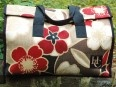 Gina - Black/Red/Cream Flowers on woven fabricBlackredcream Flower, Insulators Totes, Black Red Cream Flower, Haul Couture, Totes Bags, Www Haulcouture Com, Oversized Insulators, Carriers Bags, Woven Fabrics