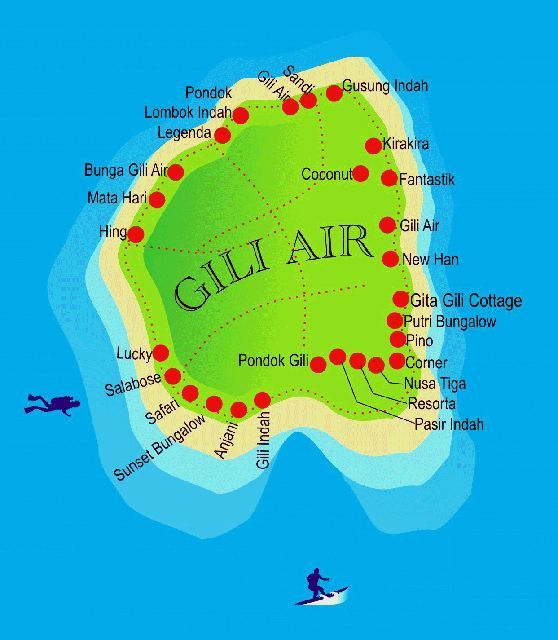 Map Of Gili Air Hotels Bungalows Boutique Resorts Etc