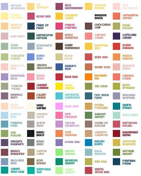 complete stampin up color chart with in colors - Google Search