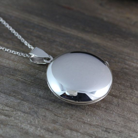 Solid STERLING SILVER Locket - Heirloom Locket . Round Locket Necklace - Large Locket Jewelry-4 on Etsy, $41.80