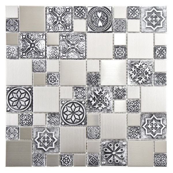 Somertile 11 75x11 75 Inch Anvil Versailles Stainless Steel Over Ceramic Mosaic Wall Tile 10 Tiles 9 79 Sqft Case Anvil Versailles With Images Mosaic Wall Tiles Porcelain Wall Tile Metal Mosaic Tiles