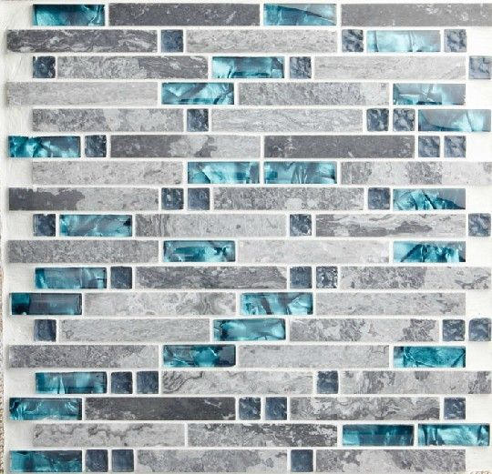 Grey Blue Backsplash | Blue shell tile glass mosaic kitchen backsplash tiles SGMT026 grey ...