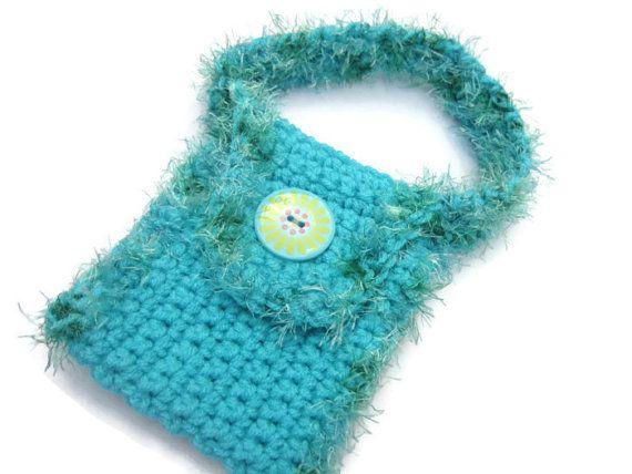 Crochet Purse For Little Girl : Crocheted Purse Little Girl Turquoise Purse by crochetedbycharlene, $ ...