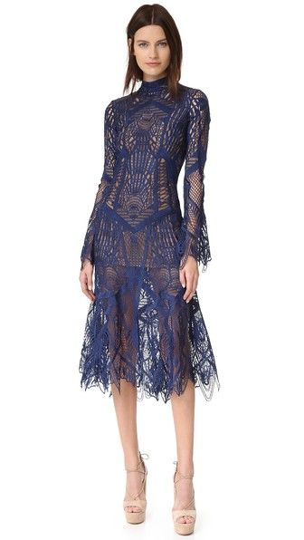 Jonathan Simkhai Mock Neck Lace Flare Midi Dress | SHOPBOP