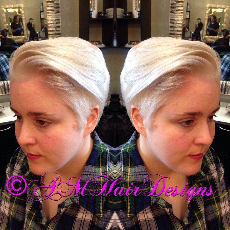Platinum blonde undercut short hair AMHairDesigns