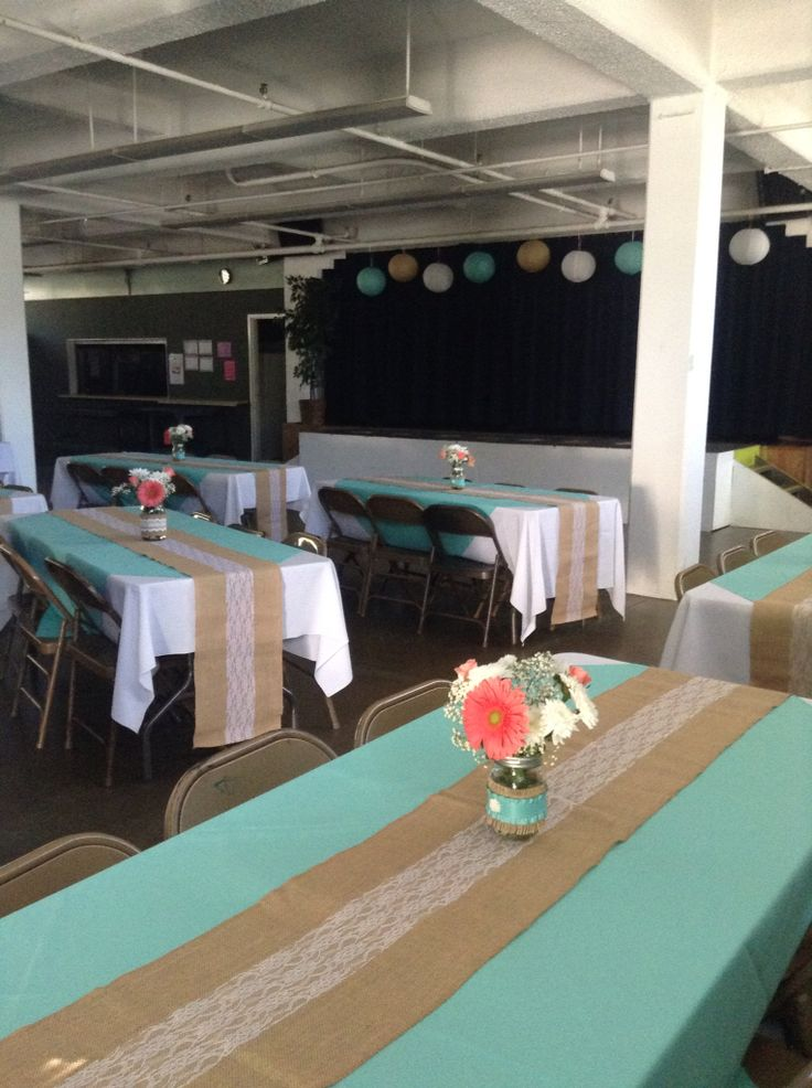 Guest tables, Tiffany blue accent square, burlap & lace runner, coral & white flowers in a mason jar