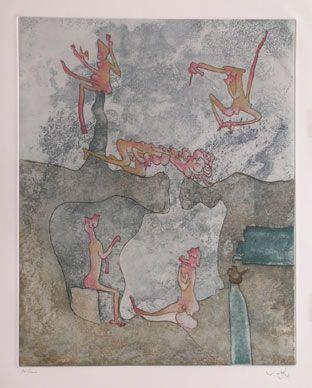 "Matta ""Cosi fan tutte: plancha 5"", 1970. Aguafuerte y aguatinta sobre Cobre de 47,5 x 37,5 cm., Papel  Arches de 250 gr. de medidas 66 x 50 cm. Ej.: 100 + XXV HC + algún PA s/n #art #etching"