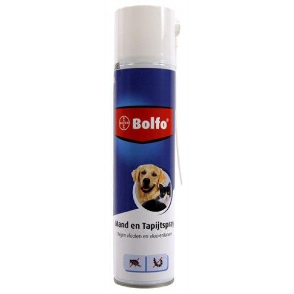 Bolfo Mand en Tapijtspray biedt bescherming tegen vlooien en vlooienlarven in de omgeving. De omgevingsspray kan gebruikt worden ter bestrijding van vlooien en –larven op het tapijt de mand en omgeving van het dier. Verpakt als aerosol dus makkelijk in gebruik.