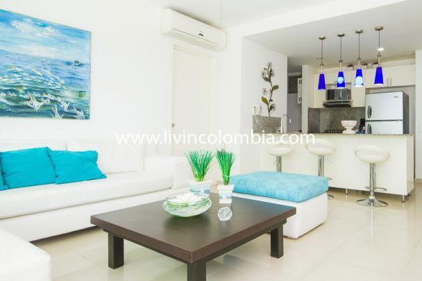 Maravilloso apartamento en Cartagena de 2 habitaciones en la zona de morros Cartagena de Indias. Tiene una fantástica piscina y la playa se encuentra al pie del edificio.