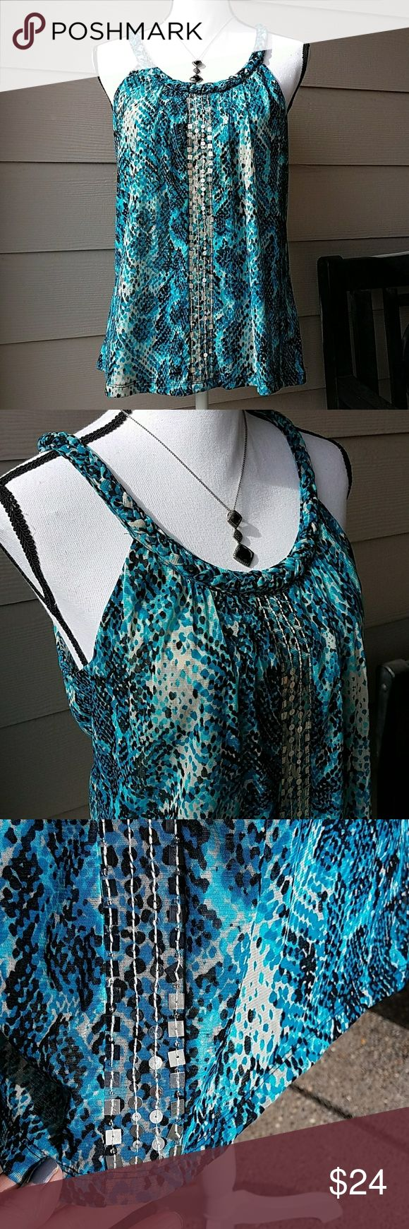 Macy's INC Nylon Top W/Silver Sequins SZ Med P 100% Nylon, Excellent Condition - No Sequins missing, Braided Detail Around Neck/Straps, Silver Sequins, Cut in Shoulders. Colors: Blues/Black/Off White. This is a Size Medium Petite INC International Concepts Tops Tank Tops
