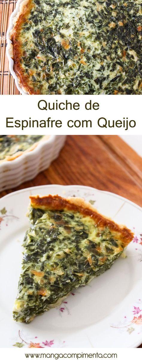 Quiche de Espinafre com Queijo - para um almoço de verão! #receita #comida #torta #quiche #vegetariano