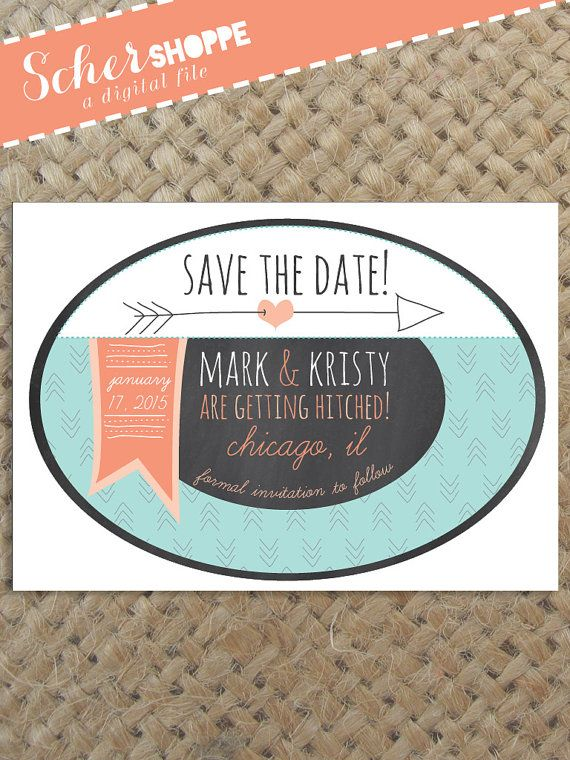 Rustic Save-the-Date Invitation // Save the Date Invite // Chalkboard Quirky Wedding Save the Date // Digital, printable, custom