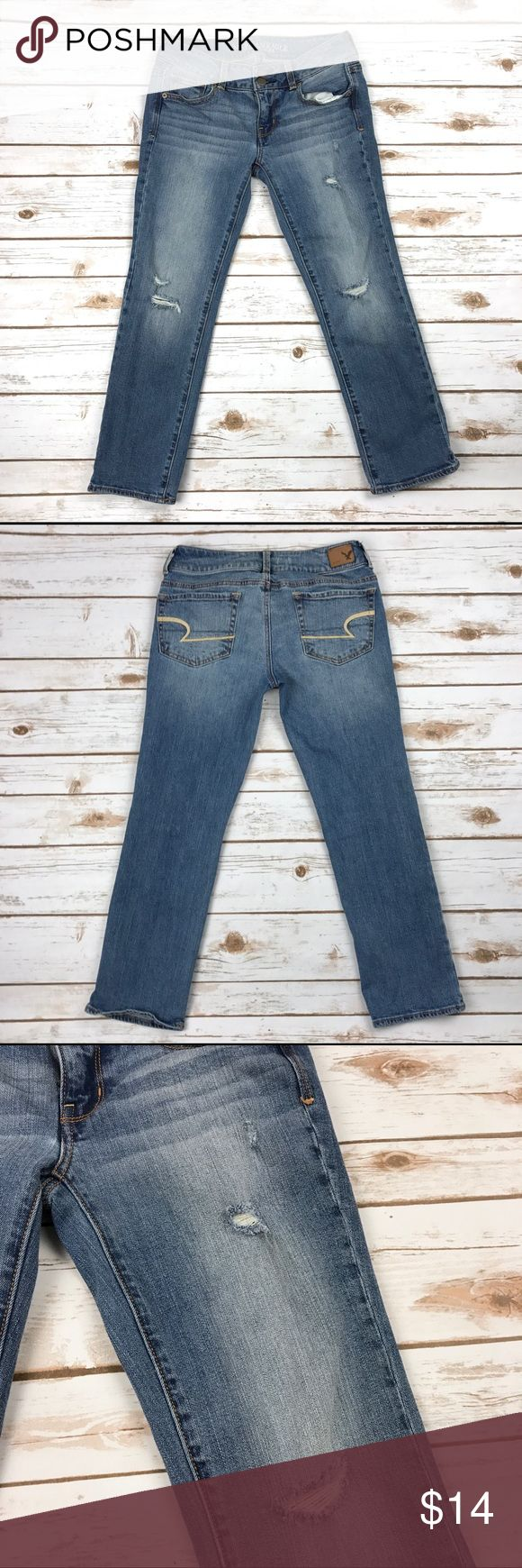 """American Eagle Artist Crop Stretch Capri Jeans American Eagle Artist Crop Stretch Capri Jeans Size 2 Distressed Medium Wash Materials: 99% cotton, 1% spandex Pre-owned in excellent condition!  Actual measurements taken laying flat: waist- 13"""" rise- 7.25"""" inseam- 24.5"""" leg opening- 6.75""""   Location- C14 American Eagle Outfitters Jeans Ankle & Cropped"""