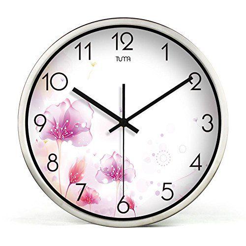 Super Silencioso Muro relojes marcando no barrido tranquila relojes decorativos para el Salón Dormitorio Comedor Office, cuadro de dibujo de alambre de plata, 12 pulgadas ✿ ▬► Ver oferta: https://cadaviernes.com/ofertas-de-cuadros-para-comedores/