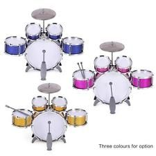 Children Kids Drum Set 5 Drums with Small Cymbal Stool Drum Sticks Blue F1A8