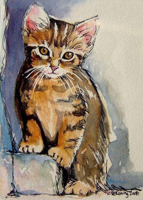 [Sacha... gatito atigrado - arte de gato ACEO impresión de la pintura giclee]