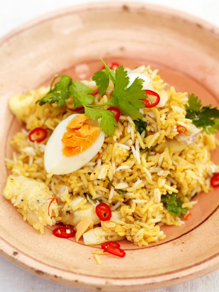 Kedgeree with eggs and smoked haddock (can also use a fresh whitefish)