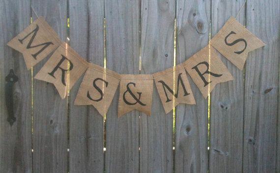 MRS & MRS Burlap Banner / Wedding Banner / Burlap Decorations / Country Wedding / Rustic Nuptials on Etsy, $20.00