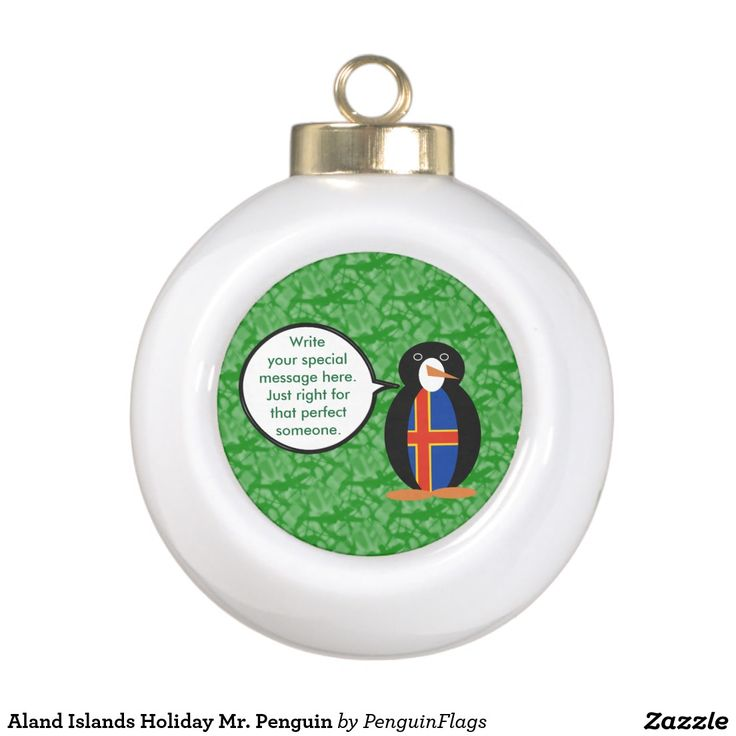 Aland Islands Holiday Mr. Penguin Ornament with Christmas Tree on back