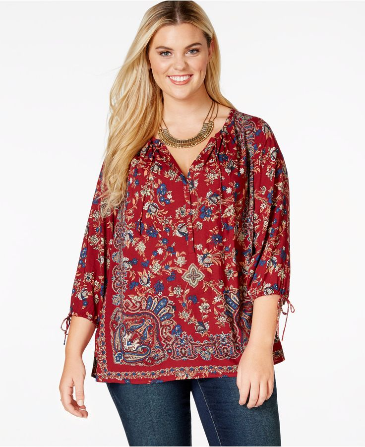Lucky Brand Plus Size Paisley-Print Peasant Top - Plus Sizes - Macy's