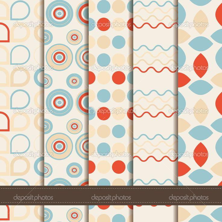 conjunto de patrones inconsútiles geométricos abstractos - Ilustración de stock: 33813567