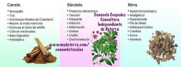 Algunos usos esenciales de los  Aceites de Canela, Sándalo y Mirra de Doterra. http://mydoterra.com/fimatos