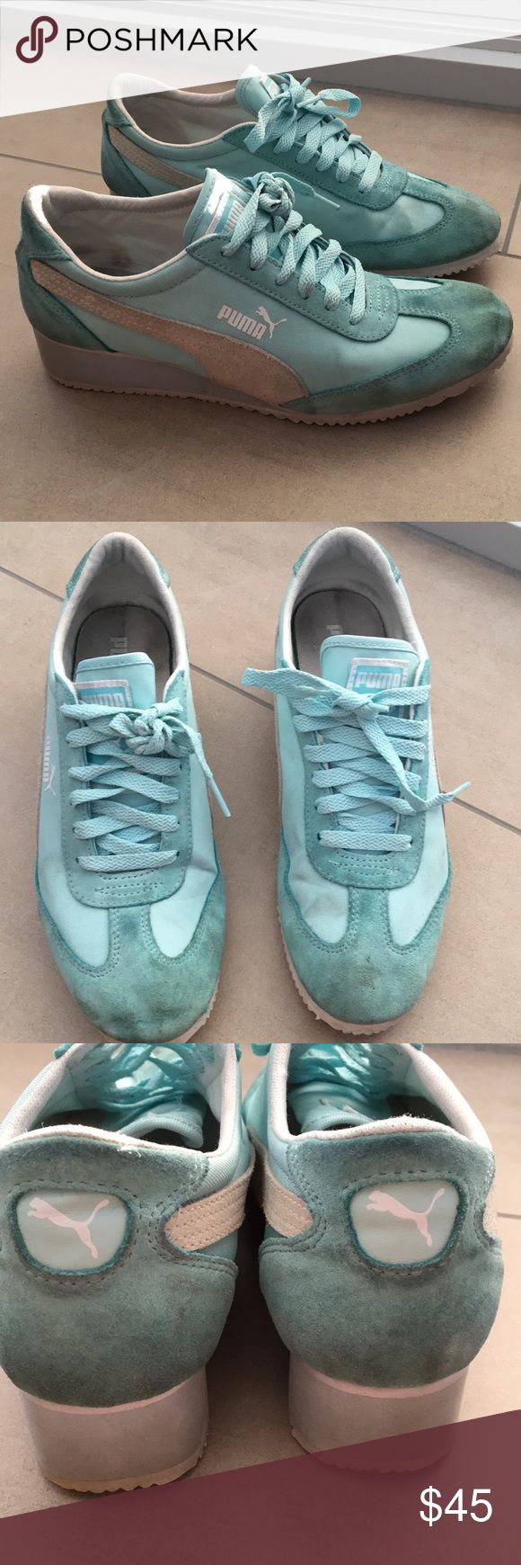 🔵Puma Light Blue Sneakers🔵make me an offer‼️ Puma sneakers in used condition, these have a lot of life left! Perfect spring shoes in a cute light blue color with suede detailing. Price is not firm, so make me an offer! ‼️ Puma Shoes Sneakers