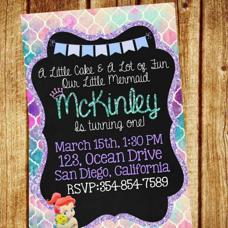 New Little Mermaid first birthday invitation Perfect