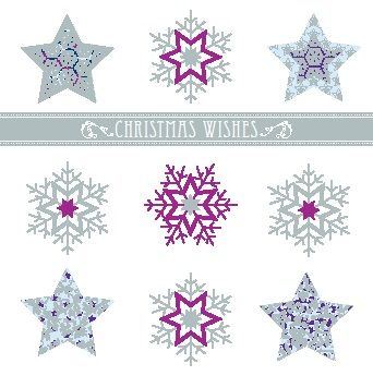 """Snowflakes & Stars. 121 x 121mm. Silver foil. £3.00. All cards come in packs of 10.  Greeting in cards: """"With Best Wishes for Christmas and the New Year."""""""