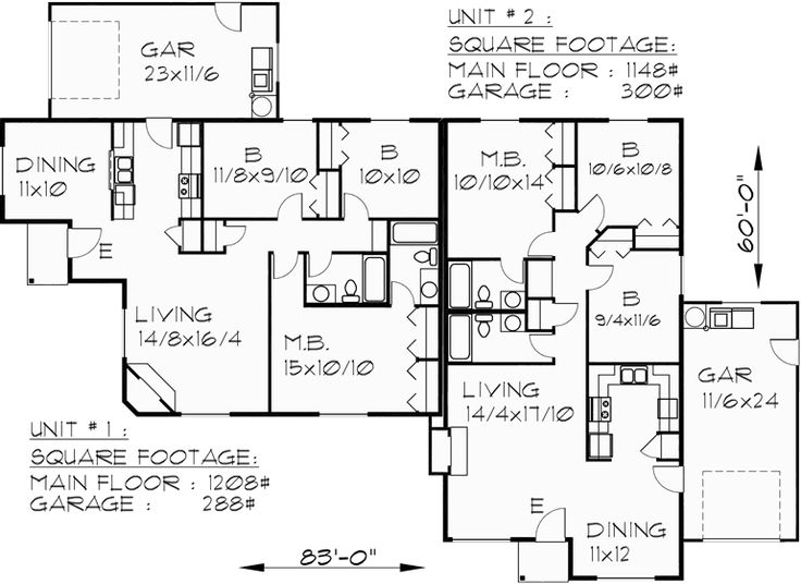 24 best duplex plans images on pinterest duplex floor for Duplex floor plans single story