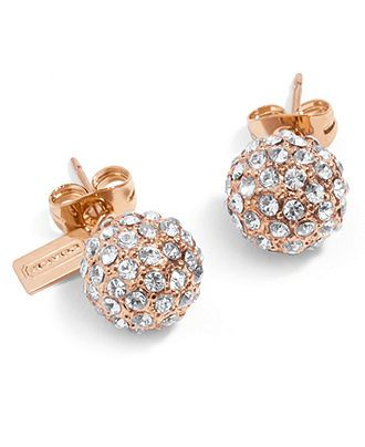 Coach holiday pave stud earrings fashion earrings for Macy s jewelry clearance