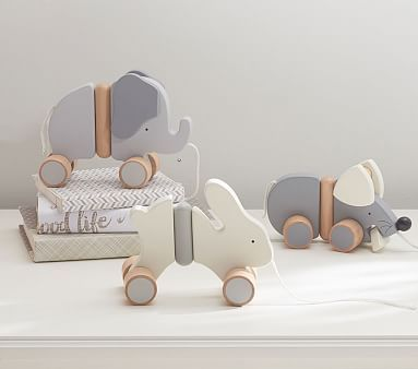 Stained Wood Pull Toy - Elephant