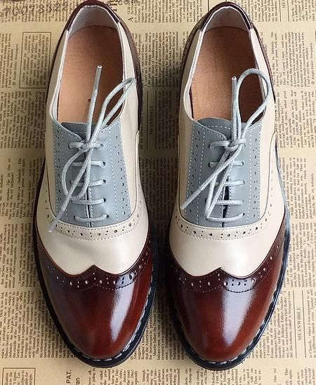 Tendance Chaussures - Aliexpress.com : Buy 2015 British style carved hand  tailored vintage oxford shoes for women genuine leather Color matching lace  up ...