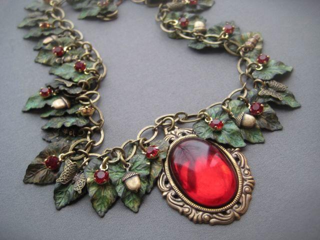 Fairy Jewelry - Fairytale Jewelry - Goddess Jewelry - Cameo Necklace - Woodland Jewelry - Medieval Jewelry - Leaf Necklace - Fantasy Jewelry. $135.00, via Etsy.